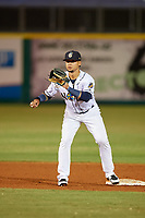 New Orleans Baby Cakes second baseman Isan Diaz (1) waits for a warmup throw during a Pacific Coast League game against the Oklahoma City Dodgers on May 6, 2019 at Shrine on Airline in New Orleans, Louisiana.  New Orleans defeated Oklahoma City 4-0.  (Mike Janes/Four Seam Images)