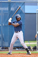Tampa Bay Rays Estanli Castillo bats during an Extended Spring Training intrasquad game on June 15, 2021 at Charlotte Sports Park in Port Charlotte, Florida.  (Mike Janes/Four Seam Images)