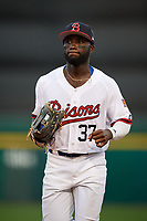 Buffalo Bisons center fielder Roemon Fields (37) jogs to the dugout during a game against the Syracuse Chiefs on June 30, 2017 at Coca-Cola Field in Buffalo, New York.  Syracuse defeated Buffalo 8-1.  (Mike Janes/Four Seam Images)