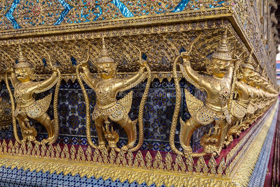 Bangkok, Thailand.  Yakshas around the Emerald Buddha Temple (Wat Phra Kaew).