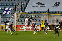 ST PAUL, MN - SEPTEMBER 27: Kei Kamara #16 of Minnesota United FC with the header to clear the ball during a game between Real Salt Lake and Minnesota United FC at Allianz Field on September 27, 2020 in St Paul, Minnesota.