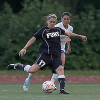 New York Fury midfielder Sinead Farrelly (17) passes the ball as Boston Breakers defender Bianca D'Agostino (19) defends. In a Women's Premier Soccer League Elite (WPSL) match, the Boston Breakers defeated New York Fury, 2-0, at Dilboy Stadium on June 23, 2012.