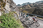 The breakaway group led by Polka Dot Jersey Guillaume Martin (FRA) Cofidis during Stage 11 of the Vuelta Espana 2020 running 170km from Villaviciosa to Alto de la Farrapona, Spain. 31st October 2020. <br /> Picture: Unipublic/Charly Lopez | Cyclefile<br /> <br /> All photos usage must carry mandatory copyright credit (© Cyclefile | Unipublic/Charly Lopez)