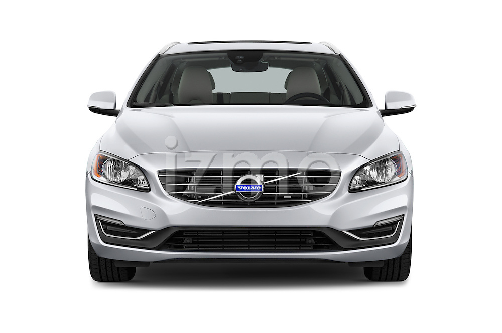 Car photography straight front view of a 2015 Volvo V60 Xenium T5 Drive-E FWD 5 Door Wagon Front View