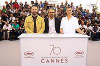 Alexey ROZIN, Andrey ZVYAGINTSEV et Maryana SPIVAK en photocall pour le film NELYUBOV lors du soixante-dixième (70ème) Festival du Film à Cannes, Palais des Festivals et des Congres, Cannes, Sud de la France, jeudi 18 mai 2017.