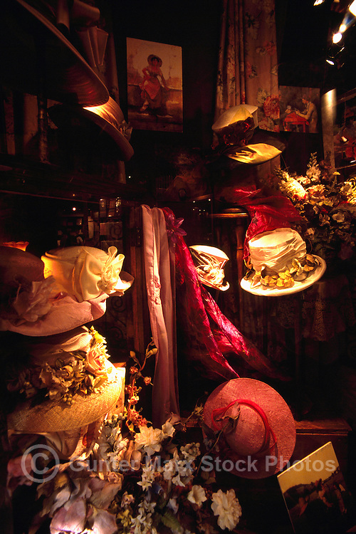 Hat Shop, Hats on Display, Hat Maker / Milliner Fashion Boutique Store, Granville Island, Vancouver, BC British Columbia, Canada