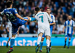 Cristiano Ronaldo (R) of Real Madrid gets kicked close to his left eye by Fabian Lukas Schar of RC Deportivo La Coruna during the La Liga 2017-18 match between Real Madrid and RC Deportivo La Coruna at Santiago Bernabeu Stadium on January 21 2018 in Madrid, Spain. Photo by Diego Gonzalez / Power Sport Images