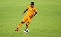 CARSON, CA - OCTOBER 28: Darwin Quintero #23 of the Houston Dynamo moves with the ball during a game between Houston Dynamo and Los Angeles FC at Banc of California Stadium on October 28, 2020 in Carson, California.