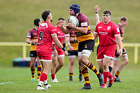 Max GREEN (9) of Jersey Reds and Billy JOHNSON (6) of Ampthill during the Greene King IPA Championship match between Ampthill RUFC and Jersey Reds at Dillingham Park, Ampthill, England on 1 May 2021. Photo by David Horn.