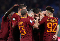 Calcio, Serie A: Roma vs Fiorentina. Roma, stadio Olimpico, 7 febbraio 2017.<br /> Roma's Federico Fazio, second from right, celebrates with teammates after scoring during the Italian Serie A soccer match between Roma and Fiorentina at Rome's Olympic stadium, 7 February 2017.<br /> UPDATE IMAGES PRESS/Riccardo De Luca
