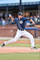 Asheville Tourists starting pitcher Peter Lambert (24) delivers a pitch during a game against the Kannapolis Intimidators at McCormick Field on May 19, 2016 in Asheville, North Carolina. The Intimidators defeated the Tourists 10-7. (Tony Farlow/Four Seam Images)