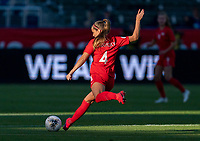 CARSON, CA - FEBRUARY 07: Shelina Zadorsky #4 of Canada passes the ball during a game between Canada and Costa Rica at Dignity Health Sports Park on February 07, 2020 in Carson, California.