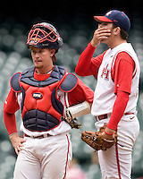 Houston Cougars catcher Chris Wallace and starting pitcher Mo Wiley against the Texas Tech Red Raiders on Sunday March 7th, 2100 at the Astros College Classic in Houston's Minute Maid Park.  (Photo by Andrew Woolley / Four Seam Images)