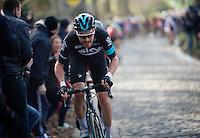 Luke Rowe (GBR/SKY) powering up the Taaienberg<br /> <br /> 71st Omloop Het Nieuwsblad 2016