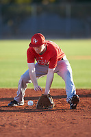 Tyler Davis (48), from Stockton, California, while playing for the Cardinals during the Under Armour Baseball Factory Recruiting Classic at Gene Autry Park on December 27, 2017 in Mesa, Arizona. (Zachary Lucy/Four Seam Images)