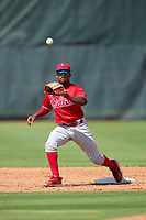 Philadelphia Phillies second baseman Uziel Viloria (23) catches a throw during an Extended Spring Training game against the Toronto Blue Jays on June 12, 2021 at the Carpenter Complex in Clearwater, Florida. (Mike Janes/Four Seam Images)