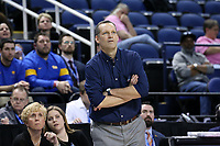 GREENSBORO, NC - MARCH 04: Head coach Lance White of the University of Pittsburgh during a game between Pitt and Notre Dame at Greensboro Coliseum on March 04, 2020 in Greensboro, North Carolina.