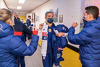 BREDA, NETHERLANDS - NOVEMBER 27: Kristie Mewis #22 of the USWNT leaves the locker room before a game between Netherlands and USWNT at Rat Verlegh Stadion on November 27, 2020 in Breda, Netherlands.