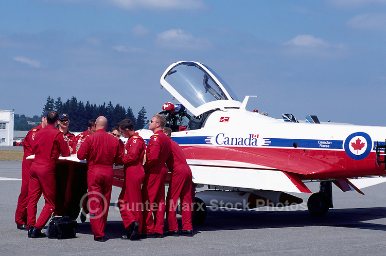 Pilots meeting at Canadian Forces Snowbirds on Display, Abbotsford International Airshow, BC, British Columbia, Canada
