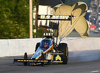 May 17, 2014; Commerce, GA, USA; NHRA top fuel dragster driver Tony Schumacher during qualifying for the Southern Nationals at Atlanta Dragway. Mandatory Credit: Mark J. Rebilas-USA TODAY Sports