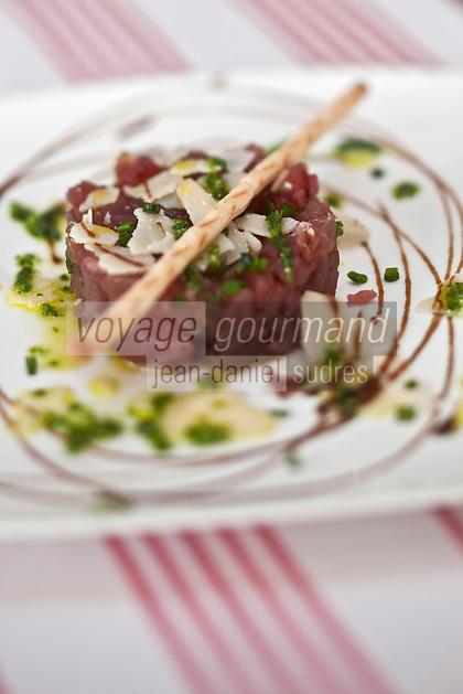 Europe/France/Aquitaine/33/Gironde/Bassin d'Arcachon/Arcachon: Tartare de thon aux copeaux de Parmesan recette de  Michel Colmenero - Restaurant: Le Royal Moulleau