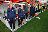 L to R - US National Team Head Coach Pia Sundhage, Assistant Coach Hege Riise, Goalkeeper Coach Paul Rogers.