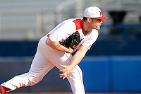 Miami Redhawks pitcher Seth Varner #32 during a game against the Illinois State Redbirds at Chain of Lakes Stadium on March 9, 2013 in Winter Haven, Florida.  Miami defeated Illinois State 4-2.  (Mike Janes/Four Seam Images)