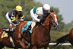 July 11, 2015: #9 Holiday Star, Edgar Prado up, races in second place as the horses pass the grandstand for the first time. Holiday star wins the mile and a half Cape Henlopen Stakes (on the turf for three year olds and upwards) by a head at Delaware Park in Stanton DE. Trainer is Graham Motion; owner is Augustin Stable. Joan Fairman Kanes/ESW/CSM