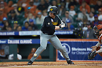 Luke Mann (16) of the Missouri Tigers is hit by a pitch during the game against the Texas Longhorns in game eight of the 2020 Shriners Hospitals for Children College Classic at Minute Maid Park on March 1, 2020 in Houston, Texas. The Tigers defeated the Longhorns 9-8. (Brian Westerholt/Four Seam Images)
