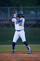 AZL Dodgers Mota Kevin Aponte (40) at bat during an Arizona League game against the AZL Giants Orange on June 29, 2019 at Camelback Ranch in Glendale, Arizona. The AZL Giants Orange defeated the AZL Dodgers Mota 9-3. (Zachary Lucy/Four Seam Images)