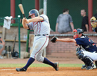 Catcher Evan Gattis (19) of the Danville Braves in a game against the Elizabethton Twins on July 16, 2010, at Joe O'Brien Field in Elizabethton, Tenn. Photo by: Tom Priddy/Four Seam Images