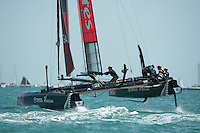 25 July 2015: Emirates Team New Zealand in action during the America's Cup first round racing off Portsmouth, England (Photo by Rob Munro)