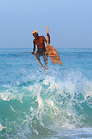 An old and very fast disappearing tradition is the Stilt fishing along the coast of Weligama in Sri Lanka,.