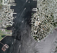 aerial photo map of Lower Manhattan, New York City,  and World Trade Center Construction Site, the Hudson River and Jersey City, New Jersey, 2008.  For more recent Manhattan imagery of the same view please contact Aerial Archives directly.