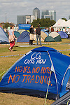 Climate Camp Blackheath south London UK. Canary Wharf docklands in background.