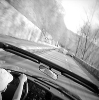 View over windshield of convertable car<br />