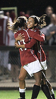 STANFORD, CA:  Christen Press (23) celebrates her second goal with Lindsay Taylor (17) during Stanford's 2-0 victory over Oregon State at Stanford, California on November 5, 2010.
