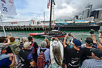 16th March 2021; Waitemata Harbour, Auckland, New Zealand;  Emirates Team New Zealand fans cheer Te Rehutai as it leaves the team base.<br />