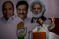 MUMBAI, MAHARASTRA, INDIA  - APRIL 20, 2014: India's ruling Congress party vice president Rahul Gandhi addresses supporters during an election rally in Mumbai, India, Sunday, April 20, 2014. Gandhi, heir to the country's Nehru-Gandhi political dynasty, is leading the struggling party's campaign in the general election. <br /> <br /> Daniel Berehulak for The New York Times