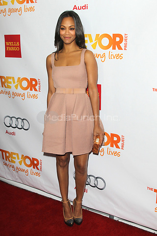 LOS ANGELES, CA - DECEMBER 02: Zoe Saldana at 'Trevor Live' honoring Katy Perry and Audi of America for The Trevor Project held at The Hollywood Palladium on December 2, 2012 in Los Angeles, California. Credit: mpi21/MediaPunch Inc.