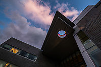 Fast-moving clouds from an approaching weather system move over UAA's ConocoPhillips Integrated Science Building.