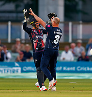 Darren Stevens of Kent is congratulated by Ollie Robinson after taking the wicket of D'Arcy Short during Kent Spitfires vs Hampshire Hawks, Vitality Blast T20 Cricket at The Spitfire Ground on 9th June 2021