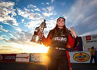 Nov 1, 2020; Las Vegas, Nevada, USA; NHRA pro stock driver Erica Enders celebrates after winning the NHRA Finals at The Strip at Las Vegas Motor Speedway. Mandatory Credit: Mark J. Rebilas-USA TODAY Sports