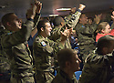 FRENCH MARINES CELEBRATE AS THEY WATCH THE RUGBY WORLD CUP QUARTER FINAL BETWEEN FRANCE AND ENGLAND ON THE HMS BULWARK WHILST ON A BREAK FROM A JOINT EXERCISE IN LOCH EWE AND OFF THE SCOTTISH ATLANTIC COAST