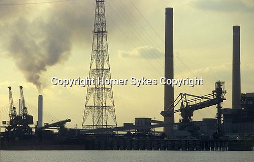River Thames Estuary Thurrock industrial site Essex England 1990s 1991