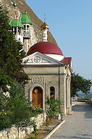 The Inkerman Monastery of St. Clement is a cave monastery in a cliff rising near the mouth of the Black River, in the city of Inkerman. The Byzantine monastery was founded in the 8th century by icon-worshippers fleeing persecution in their homeland..<br /> George Chernilevsky photographer.