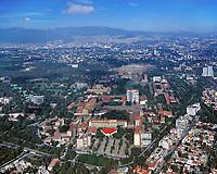 aerial overview of the National Autonomous University of Mexico (Universidad Nacional Autónoma de México), UNAM, main campus, Coyacan, Mexico City