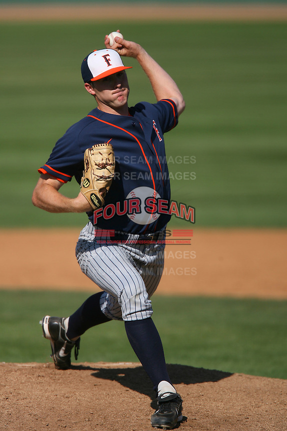 March 28 2009: Kevin Rath of the CS Fullerton Titans during game against the UC Riverside Highlanders at Riverside Sports Complex in Riverside,CA.  Photo by Larry Goren/Four Seam Images