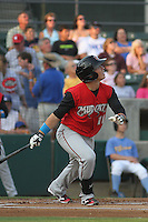 Carolina Mudcats shortstop Tony Wolters #11 at bat during a game against the Myrtle Beach Pelicans at Ticketreturn.com Field at Pelicans Park on June 30, 2012 in Myrtle Beach, South Carolina. Myrtle Beach defeated Carolina by the score of 5-4 in 11 innings. (Robert Gurganus/Four Seam Images)