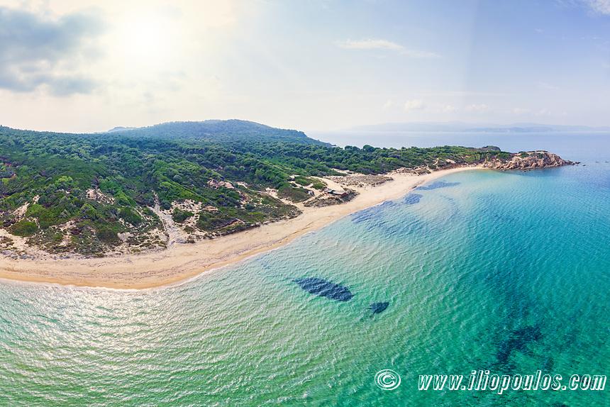 The beach Elias of Skiathos island from drone view, Greece